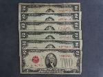 Lot: 2907 - (6) RED SEAL $2 NOTES 1928 & 1953