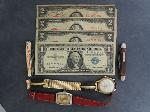 Lot: 2914 - (3) 1928 RED SEAL $2 NOTES & 1957 $1 SILVER CERTIFICATE