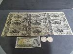Lot: 2922 - 1862 SHEET OF LOUISIANA FIVE DOLLAR BILLS 9 UNCUT