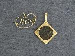 Lot: 2961 - 14K BEZEL WITH BRONZE MEDIEVAL COIN PENDANT