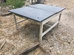 Lot: 18 - Metal Table w/ Slate Style Tops