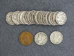 Lot: 3075 - (25) MERCURY DIMES 1036-1945 & 1904 INDIAN HEAD PENNY
