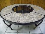 Lot: A5856 - Wrought Iron & Stone Fire Pit