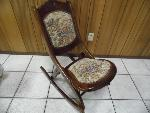 Lot: A5861 - Antique Wood & Tapestry Folding Rocking Chair