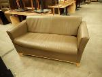 Lot: 1685 - Olive Leather Love Seat