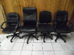 Lot: A6074 - (4) Black Leather Office Chairs
