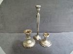 Lot: 3508 - (3) STERLING SILVER CANDLE HOLDERS