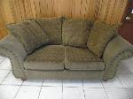 Lot: A6140 - Autumn Green Sofa w/Decorative Gold Rivets