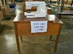 Lot: 237 - SEWING MACHINE CABINET WITH SEWING MACHINE