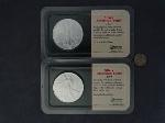 Lot: 3623 - (2) 2003 AMERICAN SILVER EAGLES & 1943 MERCURY DIME