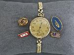 Lot: 3628 -  ELGIN WATCH & 10K PINS