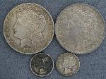 Lot: 3632 - 1885-O MORGAN DOLLAR & (2) MERCURY DIMES