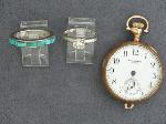 Lot: 3647 - 14K RING, SILVER RING & POCKET WATCH