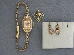 Lot: 3652 - WATCH, 10K PENDANT & 10K SINGLE EARRING