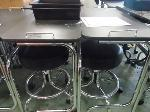 Lot: 67&68.HOU - (4) MANICURE TABLES, (4) STOOLS AND (4) PLASTIC TRAYS