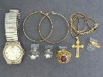Lot: 3797 - PENDANT, EARRINGS, WATCH & 10K RING