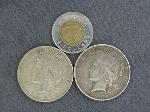 Lot: 3802 - (2) 1923 PEACE DOLLARS & FOREIGN COIN