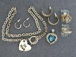 Lot: 3807 - EARRINGS, NECKLACE, SILVER RING & 10K RING