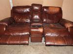 Lot: A6232 - Man Wah Furniture Leather Recliner Love Seat