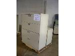 Lot: 428 - LATERAL FILE CABINET, METAL BOOK SHELF AND (3) FILE CABINETS
