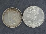 Lot: 3822 - 1922 PEACE DOLLAR & 1991 SILVER EAGLE