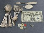 Lot: 3833 - STERLING SILVER TEASPOONS & $1 SILVER CERTS.