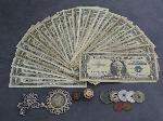 Lot: 3897 - (26) 1957 $1 BLUE SEAL SILVER CERTS & (7) TOKENS