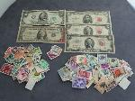 Lot: 3925 - 1950 $50 BILL, 1963 RED SEAL $5 BILL & STAMPS