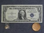 Lot: 3953 - 1935F BLUE SEAL $1 & 14K RING