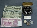 Lot: 3956 - CUFFLINKS, TUXEDO STUDS & (3) 1957 $1 SILVER CERTS.