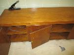Lot: 47.SP - TV with rolling cart, wood cabinet