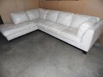 Lot: A6335 - Pampas Sand Cream Leather Sectional Sofa