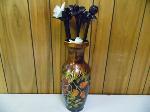 Lot: A6374 - Porcelain Vase w/Handmade Glass Flowers