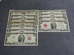 Lot: 4031 - 1934D $5 SILVER CERT. & (10) RED SEAL $2 NOTES