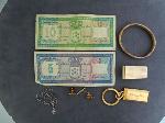 Lot: 4044 - MONEY CLIP, KEY RING & 10K BRACELET