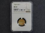 Lot: 4046 - 1911-D $2 1/2 DOLLAR GOLD COIN - MS61 - NGC