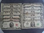 Lot: 4183 - (5) RED SEAL $2 BILLS & (3) 1953 $5 SILVER CERTS.