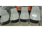 Lot: 50-090 - (4) Grey Acrylic Stacking Chairs