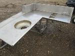 Lot: 24 - Stainless Steel Corner Table with Sink and Table