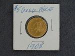 Lot: 4494 - 1908 U.S. FIVE DOLLAR GOLD COIN