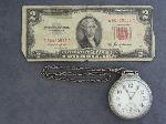 Lot: 4509 - HAMILTON POCKET WATCH & 1953A RED SEAL $2 NOTE