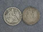 Lot: 4649 - (2) SEATED LIBERTY HALF DOLLARS