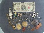 Lot: 4812 - CURRENCY, TOKENS, WATCHES & PIECE OF 10K WIRE