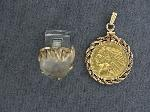 Lot: 4816 - 10K BEZEL WITH GOLD COIN & 10K RING