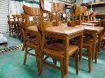 Lot: 74.UV - (2) RECTANGULAR TABLES, (8) BROWN PLASTIC UPHOLSTERED CHAIRS, WOOD BASE AND LEGS.