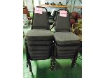 Lot: 75.UV - (2) WOOD RECTANGULAR TABLES, (12) STACKABLE VIRCO CLOTH UPHOLSTERED CHAIRS