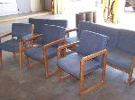 Lot: 17 - Wood couch, love seat and (3) chairs