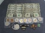 Lot: 5219 - $1 BILLS, $2 RED SEAL, KNIVES, TOKENS & STAMP