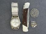 Lot: 5241 - RELIGIOUS MEDAL, BUCK KNIFE, WATCH & 14K RING