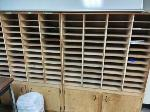 Lot: 5&6 - MICROWAVE, ROLLING CART, WOODEN SHELVES W/ CABINETS & CABINET